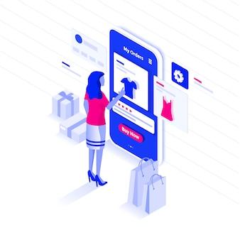 Color plano ilustración isométrica moderna compras en línea