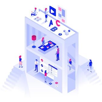 Color plano ilustración isométrica moderna educación