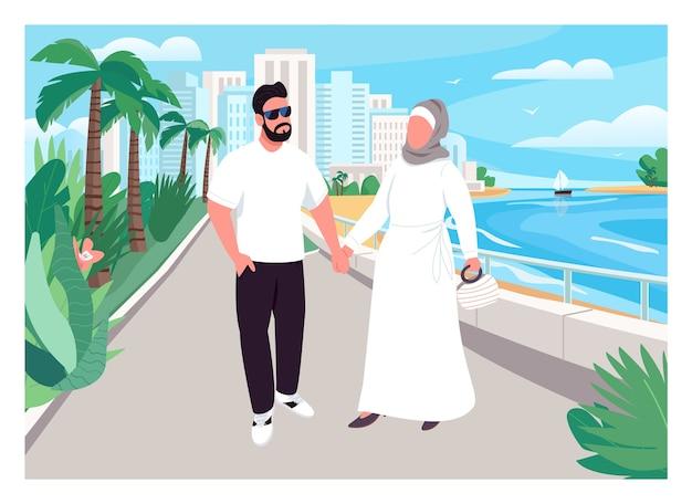 Color plano de vacaciones familiares musulmanas. el hombre y la mujer se dan la mano y caminan. marido y mujer de vacaciones. pareja árabe personajes de dibujos animados en 2d con playa urbana en el fondo