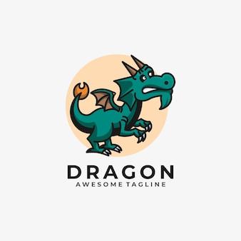 Color plano de vector de diseño de logotipo de ilustración de dibujos animados de dragón