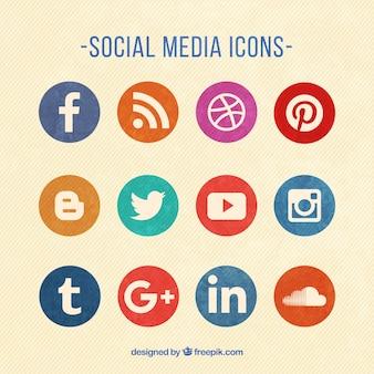 Color ronda iconos de redes sociales