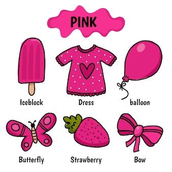 Color rosa con vocabulario en inglés.