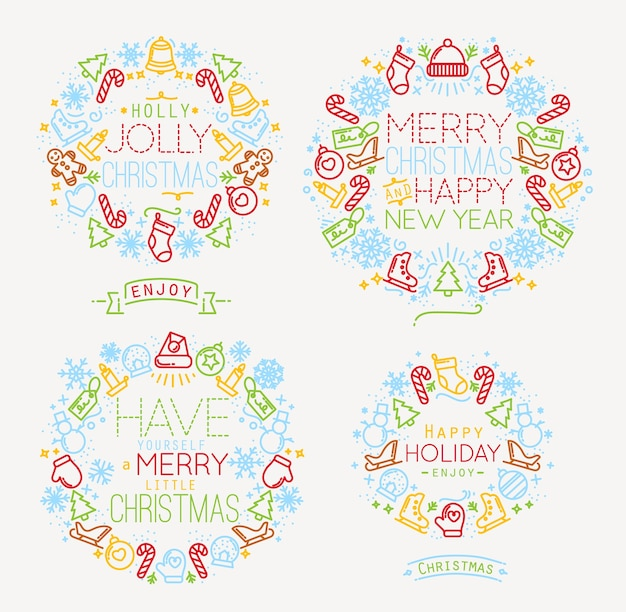 Color de símbolos de navidad