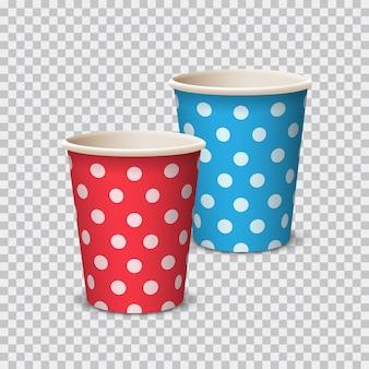 Color de taza de papel con lunares para bebidas