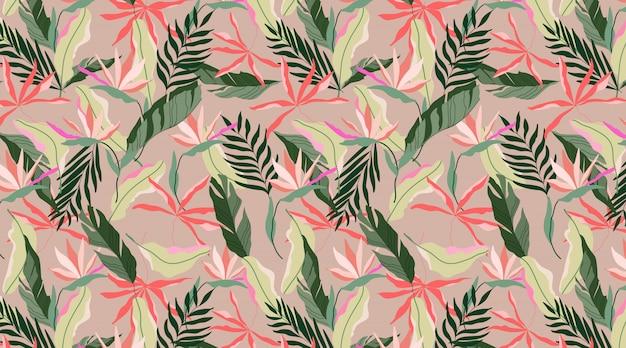 Color terroso transparente exótico patrón hawaiano. diseño tropical para web e impresión. flores strelitzia, hojas de color beige, rojo y verde suave sobre un fondo rojo. diseño de patrón moderno dibujado a mano.