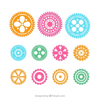 Color del vector engranajes iconos conjunto