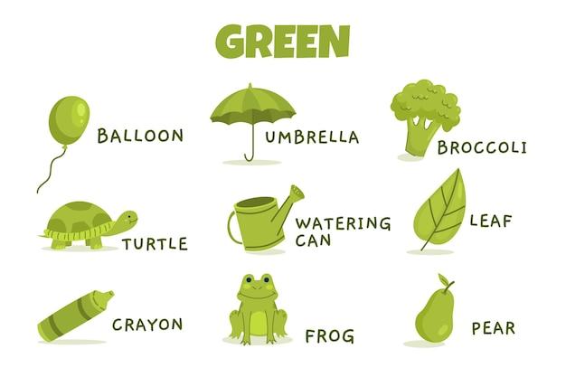 Color verde con paquete de vocabulario en inglés