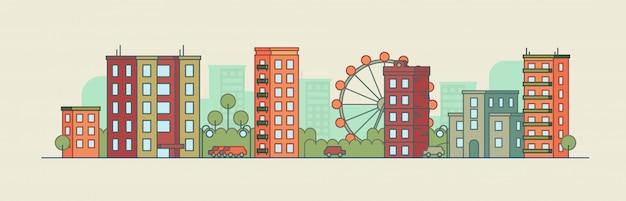 Colorea el paisaje de la ciudad con la noria sobre fondo de verano