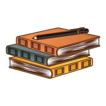 Colorea tres cuadernos con una imagen de bolígrafo.