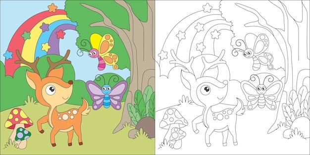 Colorear ciervos y mariposas