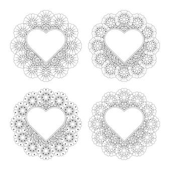 Colorear conjunto de flor mehndi con marco en forma de corazón decoración floral mehndi en estilo étnico oriental