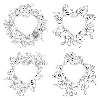 Colorear conjunto de flor mehndi con marco en forma de corazón en estilo étnico oriental