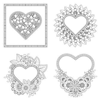 Colorear flor mehndi con marco en forma de corazón adorno floral mehndi en estilo étnico oriental