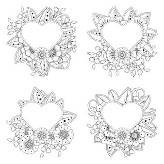 Colorear flor mehndi con marco en forma de corazón decoración floral mehndi en estilo étnico oriental