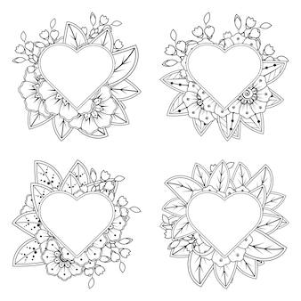 Colorear flor mehndi con marco en forma de corazón en estilo étnico oriental