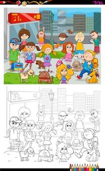 Colorear niños y ciudad