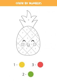Colorear piña linda kawaii por números. juego educativo de matemáticas para niños.