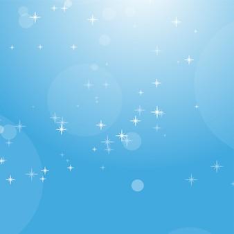 Coloree el fondo abstracto del cielo azul con el bokeh y las estrellas.