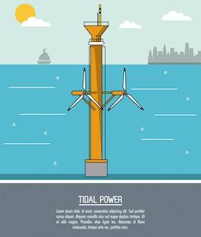 Coloree la planta de energía de marea del fondo del paisaje del mar con las turbinas