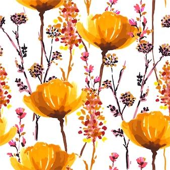 Colores cálidos y otoñales que florecen flores silvestres doradas de patrones sin fisuras de estilo rotulador dibujado a mano en vector, diseño para moda, tela, papel tapiz, envoltura y todas las impresiones