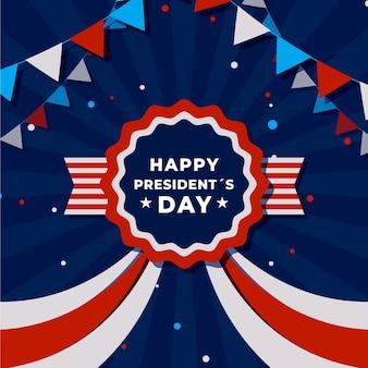 Colores y cinta americana del día del presidente plana