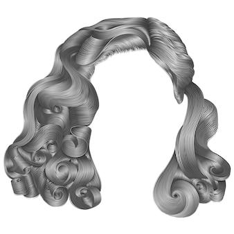 Colores grises de los pelos cortos de la mujer de moda. franja. estilo retro de la belleza de la moda. realista.