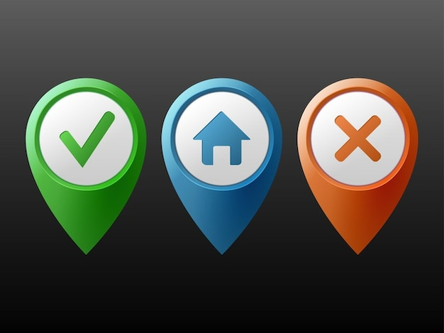 Colores localización marcadores botones del vector