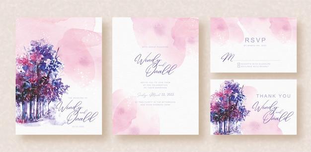 Colores mezclados de fondo de invitación de boda de acuarela de árboles