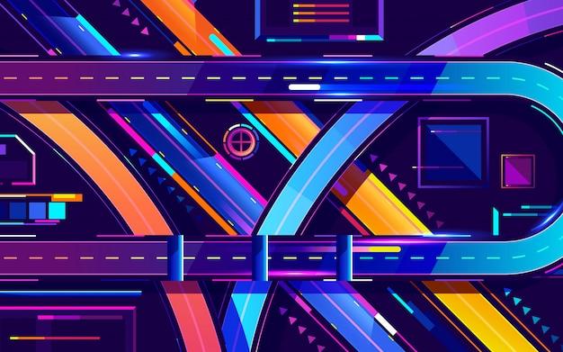 Colores de neón de la autopista de la noche de metrópolis, vector de dibujos animados de vista superior