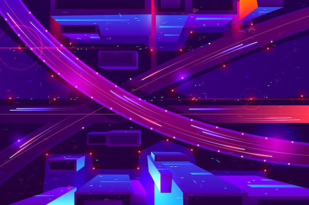 Colores de neón de la autopista de la noche de metrópolis, vista superior de dibujos animados.
