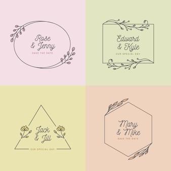 Colores pastel para el concepto de monogramas de boda