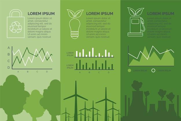 Colores retro ecología plana infografía