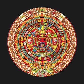 Colorfull maya aztec calendar