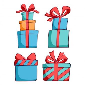 Colorida caja de regalo de navidad con estilo doodle sobre fondo blanco.