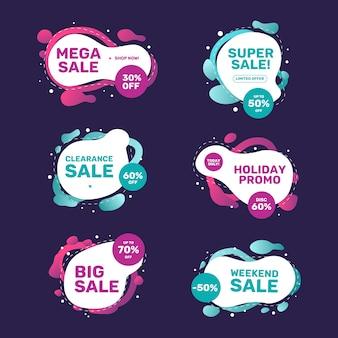Colorida campaña de ventas con colección de pancartas