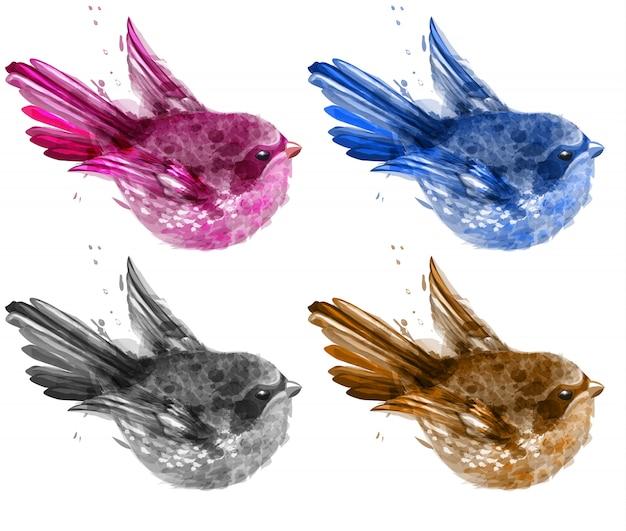 Colorida colección de acuarela de aves pequeñas