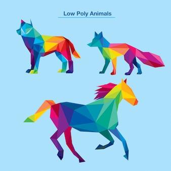 Colorida colección de animales de baja poli