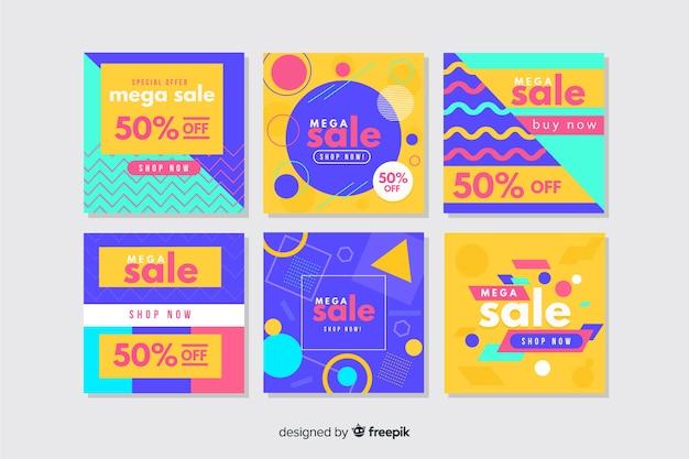 Colorida colección de banners abstractos de instagram
