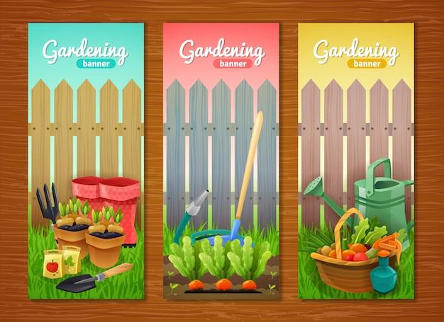 Colorida colección de banners verticales de jardinería