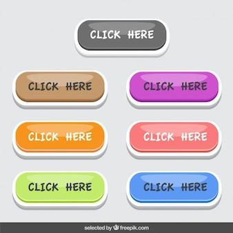 Colorida colección de botones de clic aquí