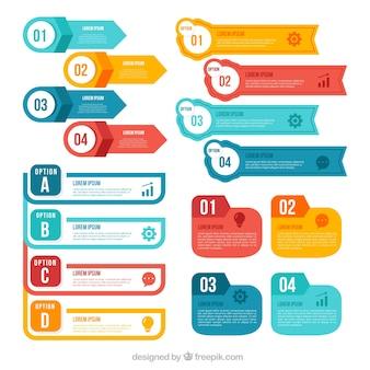 Colorida colección de elementos infográficos