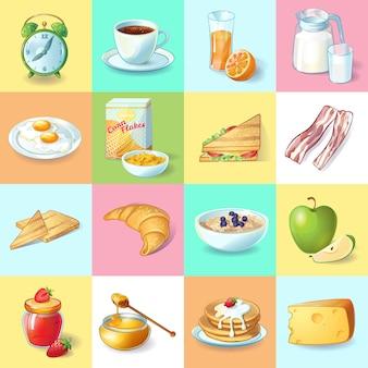 Colorida colección de elementos de desayuno tradicional con despertador platos saludables y bebidas matutinas en plazas aisladas