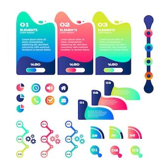 Colorida colección de elementos de infografía degradado
