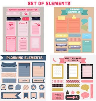 Colorida colección de elementos de planificación semanal como adhesivo, etiqueta, marcador, cinta, papel y notas.