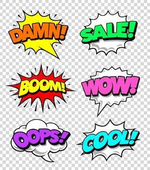 Colorida colección de etiquetas de cómic