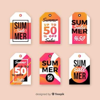 Colorida colección de etiquetas de rebajas de verano