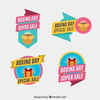 Colorida colección de insignias del boxing day
