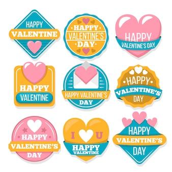 Colorida colección de insignias del día de san valentín