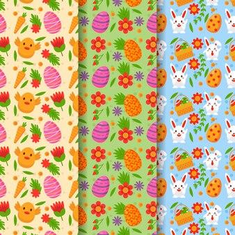 Colorida colección de patrones del día de pascua