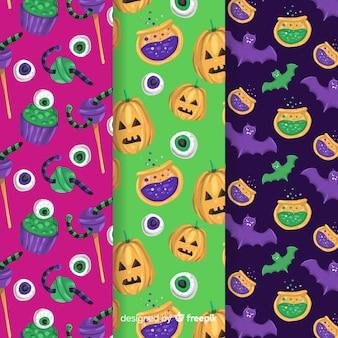 Colorida colección de patrones de halloween dibujados a mano